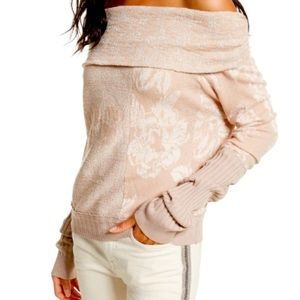 Free People Cowl Neck Rose and Gold Sweater